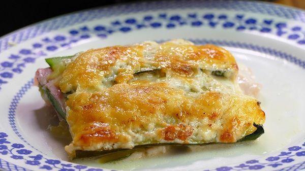 lasaña de calabacin jamon y queso