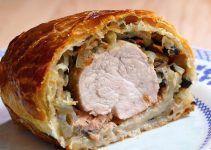 El solomillo de cerdo wellington, es un solomillo envuelto en una masa de hojaldre. Se hornea y queda una receta deliciosa
