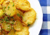 patatas a la vinagreta. Con ajo y perejil. Una receta de aperitivo muy rica