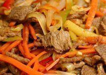 Chop suey de ternera chino. Receta típica de este país asiático