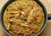 Noodles con pollo y verduras. Receta de entrante deliciosa